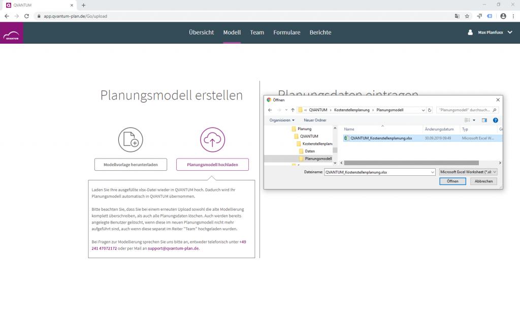 Planungsmodellierung mit der Controlling Cloud QVANTUM, Beispiel Modellimport mit Excel